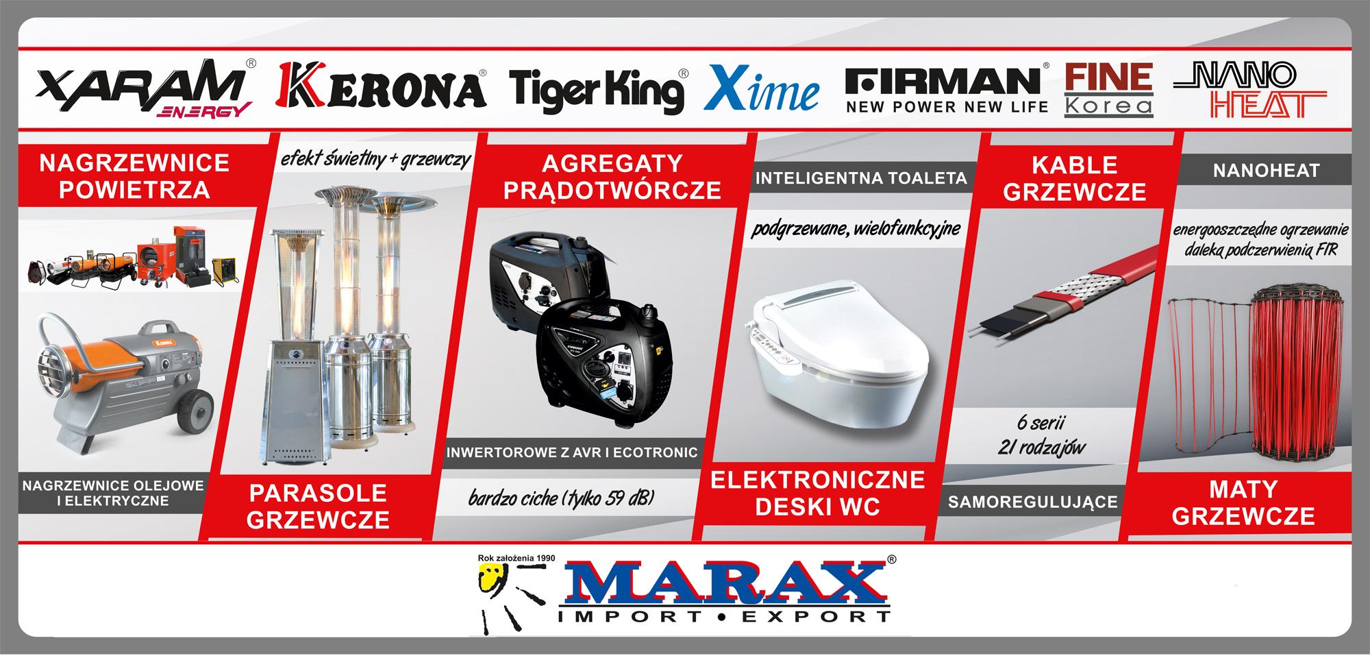 Importer nagrzewnic olejowych firman, Kerona, Xaram Energy; parasole gazowe ogrodowe, piecyki gazowe, kable samoregulujące, maty grzewcze, elektroniczne deski myjące,